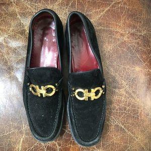 Salvador Ferragamo black suede leather loafers 8